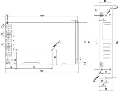 Napajalnik 220V/12V 150W Meanwell LRS-150